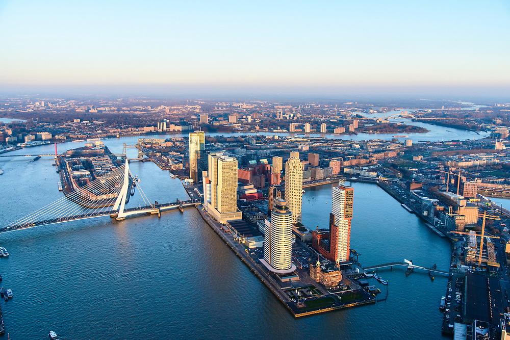 Nederland, Zuid-Holland, Rotterdam, 07-02-2018; Centrum Rotterdam in winters avondlicht, bij zonsondergang. Kop van Zuid (Wilhelminakade) met Rijnhaven, Nieuwe Maas en Erasmusbrug, Noordereiland.<br /> City centre Rotterdam, Head of (the) South with highrise buildings.<br /> <br /> South Rotterdam, with former harbour quarter Katendrecht.<br /> luchtfoto (toeslag op standard tarieven);<br /> aerial photo (additional fee required);<br /> copyright foto/photo Siebe Swart