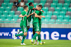 Players of NK Olimpija Ljubljana celebrate goal during 1st Leg football match between NK Olimpija Ljubljana and HJK Helsinki in 3rd Qualifying Round of UEFA Europa League 2018/19, on August 9, 2018 in SRC Stozice, Ljubljana, Slovenia. Photo by Urban Urbanc / Sportida