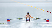 "Glasgow, Scotland, ""2nd August 2018"", ""Russian lightweight Single Sculler"",  RUS LW1X, Anastasia  LEBEDEVA, in the, opening strokes, of her Heat at, ""The European Games"", Rowing, Strathclyde Park, North Lanarkshire, © Peter SPURRIER/Alamy Live News"