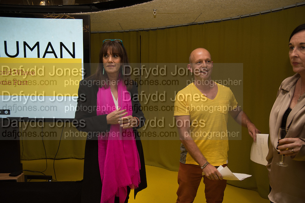 GAIL REBUCK; STEVE HILTON, Launch of ' More Human',  Designing a World Where People Come First' by Steve Hilton. Party held at Second Home in Princelet St, off Brick Lane, London. 19 May 2015.