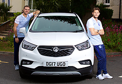 LIVERPOOL, ENGLAND - Wednesday, May 17, 2017: Liverpool and England's Jordan Henderson and Adam Lallana pose next to a Vauxhall Mokka car during a photoshoot at the Devonshire House Hotel. (Pic by David Rawcliffe/Propaganda)