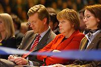12 JAN 2003, BRAUNSCHWEIG/GERMANY:<br /> Christian Wulff (Mi-L), CDU Landesvorsitzender Niedersachsen, und Angela Merkel (Mi-R), CDU Bundesvorsitzende, im Gespraech, Wahlkampfauftakt der CDU Niedersachsen zur Landtagswahl, Volkswagenhalle<br /> IMAGE: 20030112-01-021<br /> KEYWORDS: Spitzenkandidat, Gespr&auml;ch