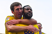 Jacques Maghoma of Birmingham City (19) scores a goal and celebrates with Gary Gardner of Birmingham City (20)  to make the score 1-1 during the EFL Sky Bet Championship match between Rotherham United and Birmingham City at the AESSEAL New York Stadium, Rotherham, England on 22 April 2019.