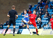 Leyton Orient's Joe Widdowson and Gillingham's Lee Martin during the The FA Cup match between Gillingham and Leyton Orient at the MEMS Priestfield Stadium, Gillingham, England on 4 November 2017. Photo by John Marsh.