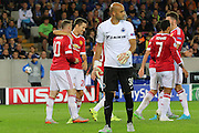 Wayne Rooney of Manchester United celebrates the third goal during the Champions League Qualifying Play-Off Round match between Club Brugge and Manchester United at the Jan Breydel Stadion, Brugge, Belguim on 26 August 2015. Photo by Phil Duncan.