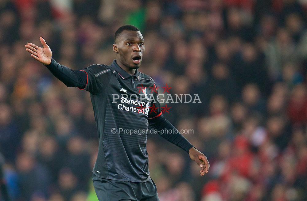 STOKE-ON-TRENT, ENGLAND - Tuesday, January 5, 2016: Liverpool's Christian Benteke in action against Stoke City during the Football League Cup Semi-Final 1st Leg match at the Britannia Stadium. (Pic by David Rawcliffe/Propaganda)