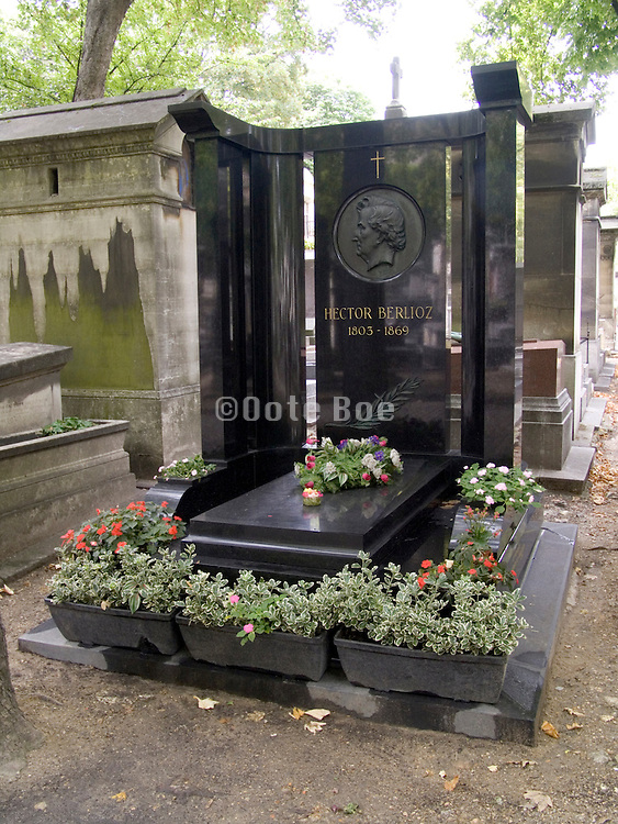 Memorial stone for composer Hector Berlioz (1803-1869) Montmartre Paris