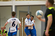 Dundee Futsal's Ricardo Correia (right centre) is congratulated after opening the scoring v TMT (black) in the Scottish Futsal Finals day semi final at Perth College, Perth, Photo: David Young<br /> <br />  - © David Young - www.davidyoungphoto.co.uk - email: davidyoungphoto@gmail.com