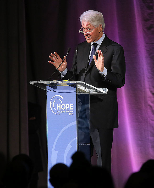 President Bill Clinton speaks at the Hope Global Forum at the Omni Hotel in Atlanta.