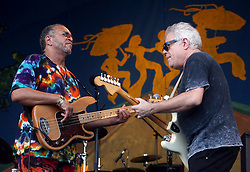 05 May 2012. New Orleans, Louisiana,  USA. .New Orleans Jazz and Heritage Festival. .L/R; George Porter and Brian Stoltz of the Funky Meters..Photo; Charlie Varley.