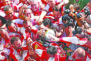 BUDAPEST, HUNGARY - JULY 26:  Sebastian Vettel of Germany and Ferrari celebrates with the team in Parc Ferme after winning the Formula One Grand Prix of Hungary at Hungaroring on July 26, 2015 in Budapest, Hungary.  (Photo by Mark Thompson/Getty Images)