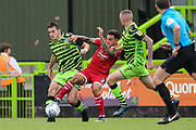 Forest Green Rovers Liam Kitching(20) tackles Crawley Town's Reece Grego-Cox(7) during the EFL Sky Bet League 2 match between Forest Green Rovers and Crawley Town at the New Lawn, Forest Green, United Kingdom on 5 October 2019.