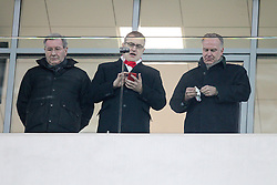 17.02.2015, Arena Lwiw, Lwiw, UKR, UEFA CL, Schachtar Donezk vs FC Bayern Muenchen, Achtelfinale, Hinspiel, im Bild l-r: Aufsichtsratsvorsitzender und Praesident Karl Hopfner (FC Bayern Muenchen), stellvertretenden Vorstandsvorsitzenden Jan-Christian Dreesen (FC Bayern Muenchen), Vorstandsvorsitzender Karl-Heinz Rummenigge (FC Bayern Muenchen) // during the UEFA Champions League Round of 16, 1st Leg match between between Schachtar Donezk and FC Bayern Munich at the Arena Lwiw in Lwiw, Germany on 2015/02/17. EXPA Pictures © 2015, PhotoCredit: EXPA/ Eibner-Pressefoto/ Kolbert<br /> <br /> *****ATTENTION - OUT of GER*****