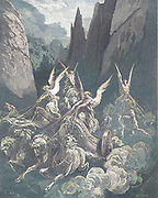 Machine Colourized (AI) The Vision of the Four Chariots Zechariah 6:1 From the book 'Bible Gallery' Illustrated by Gustave Dore with Memoir of Dore and Descriptive Letter-press by Talbot W. Chambers D.D. Published by Cassell & Company Limited in London and simultaneously by Mame in Tours, France in 1866