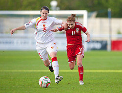 BANGOR, WALES - Thursday, May 8, 2014: Wales' Sarah Wiltshire in action against Montenegro's Milica Vulic during the FIFA Women's World Cup Canada 2015 Qualifying Group 6 match at the Nantporth Stadium. (Pic by David Rawcliffe/Propaganda)