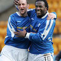 St Johnstone v Stranraer.....01.04.06<br />Jason Scotland celebrates his hat-trick with Paul Sheerin<br /><br />Picture by Graeme Hart.<br />Copyright Perthshire Picture Agency<br />Tel: 01738 623350  Mobile: 07990 594431