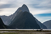 Mitre Peak (1683 m/5522 ft), Milford Sound, Fiordland National Park, Southland region, South Island of New Zealand. In 1990, UNESCO honored Te Wahipounamu - South West New Zealand as a World Heritage Area.