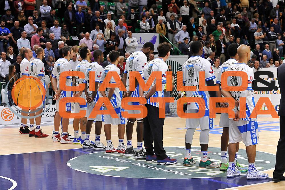 DESCRIZIONE : Campionato 2014/15 Dinamo Banco di Sardegna Sassari - Enel Brindisi<br /> GIOCATORE : Team<br /> CATEGORIA : Before<br /> SQUADRA : Dinamo Banco di Sardegna Sassari<br /> EVENTO : LegaBasket Serie A Beko 2014/2015<br /> GARA : Dinamo Banco di Sardegna Sassari - Enel Brindisi<br /> DATA : 27/10/2014<br /> SPORT : Pallacanestro <br /> AUTORE : Agenzia Ciamillo-Castoria / Luigi Canu<br /> Galleria : LegaBasket Serie A Beko 2014/2015<br /> Fotonotizia : Campionato 2014/15 Dinamo Banco di Sardegna Sassari - Enel Brindisi<br /> Predefinita :