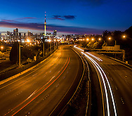 On the Ponsonby off ramp bridge looking over motorway towards Auckland city,  at dawn on Sunday morning. New Zealand 3 x images stitched together, image size 4885 x 4288, crop to suit application.