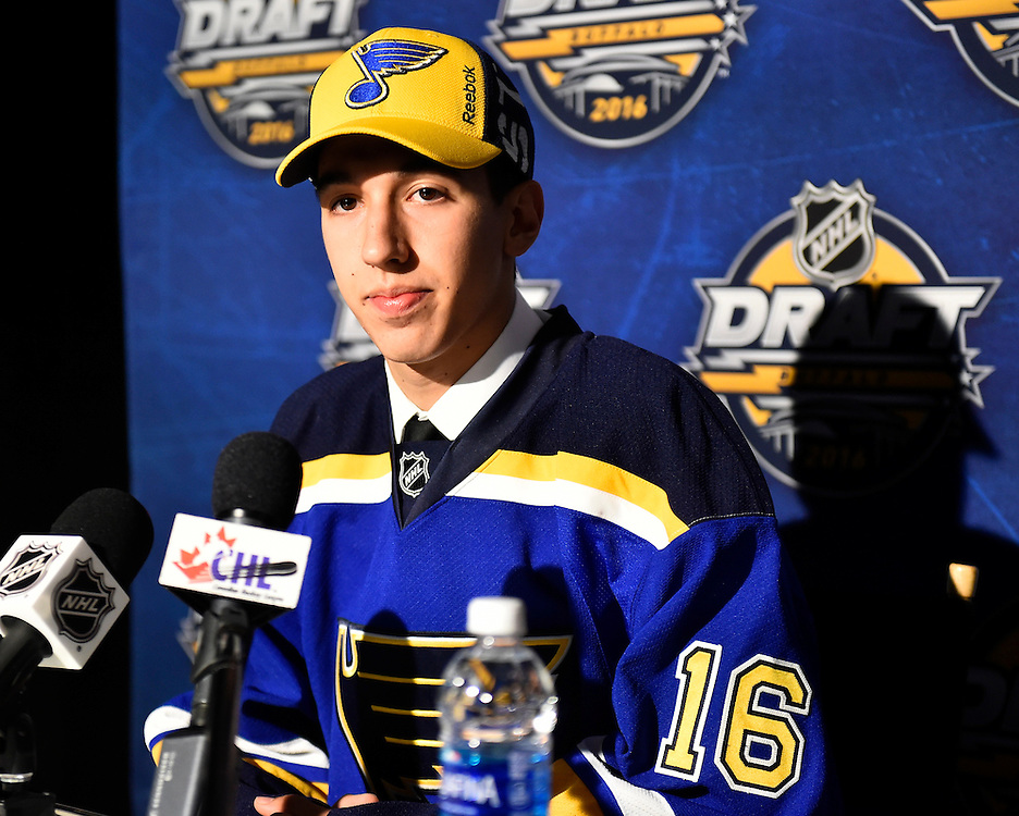 Jordan Kyrou at the 2016 NHL Draft in Buffalo, NY on Saturday June 25, 2016. Photo by Aaron Bell/CHL Images