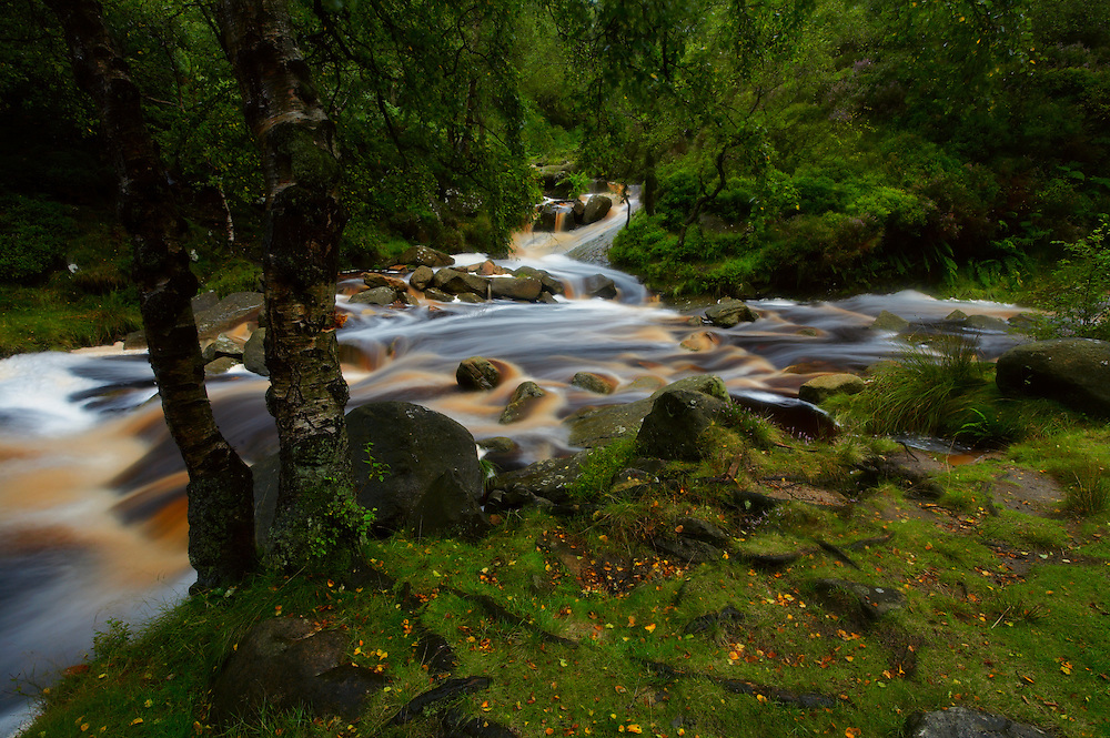 After heavy rainfall, the river was fast flowing with the brown earthy tones it had picked up en route. A long exposure provided this velvet like texture flowing down between the trees.