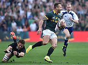 JOHANNESBURG, South Africa, 04 October 2014 : Richie McCaw (C) of the All Blacks misses his tackle on Francois Hougaard of the Springboks to score his try during the Castle Lager Rugby Championship test match between SOUTH AFRICA and NEW ZEALAND at ELLIS PARK in Johannesburg, South Africa on 04 October 2014. <br /> The Springboks won 27-25 but the All Blacks successfully defended the 2014 Championship trophy.<br /> <br /> © Anton de Villiers / SASPA