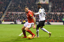 February 25, 2019 - Nottingham, England, United Kingdom - Daryl Murphy (9) of Nottingham Forest defends the ball from Derby County defender Fikayo Tomori (5) during the Sky Bet Championship match between Nottingham Forest and Derby County at the City Ground, Nottingham on Monday 25th February 2019. (Credit Image: © Mi News/NurPhoto via ZUMA Press)