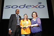 16/02/2014  Paul Sleem MC with Outstanding Volunteer<br /> Sabrina Autier, SAP presented by  Yvonne Butler, Sodexo at the 8th annual SAP FIRST LEGO League challenge in Galway!&nbsp; The global theme for this year&rsquo;s competition; &ldquo;Nature&rsquo;s Fury&rdquo; was very apt for Irish Students and many of the projects were inspired by recent disastrous impact of the weather in local communities.<br /> &nbsp;<br /> The winners, SGC Robotics from St. Gerald&rsquo;s Secondary School in Castlebar, will now go on to represent Ireland at the European finals of the competition in Spain in May. They will follow in the footsteps of other very successful Irish teams who have in the past been recognised and awarded prizes on the international stage.<br /> Bernard Kirk, Director, The Galway Education Centre who brought the FIRST LEGO League to Ireland 8 years ago and have hosted it every year since, &ldquo; We see these students not just as LEGO and robotics experts, they are architects, engineers and genuine enthusiasts. Irish students have become recognised all over the world through their successes in this competition at global level and we are extremely proud of them and their teachers&rdquo;. Photo:Andrew Downes