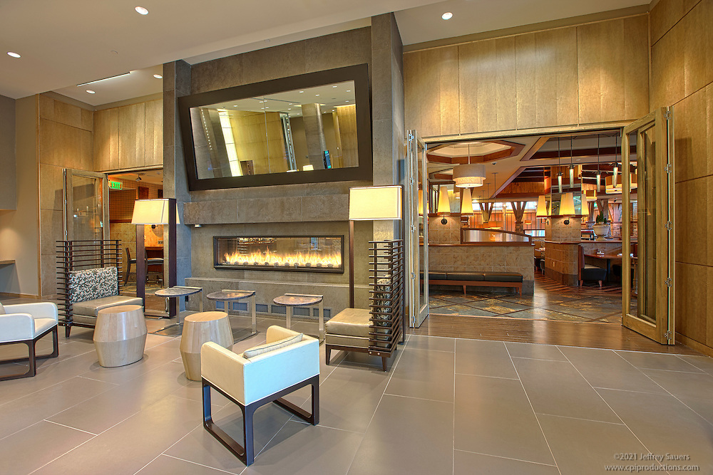 GrillFire Restaurant at The Hotel at Arundel Preseve architectural interior photography.