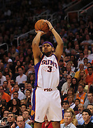 Mar. 19 2010; Phoenix, AZ, USA; Phoenix Suns forward Jared Dudley (3) puts up a shot during the first half at the US Airways Center.  The Suns defeated the Jazz 110-100. Mandatory Credit: Jennifer Stewart-US PRESSWIRE.