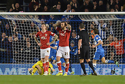 Aden Flint of Bristol City cuts a dejected figure as Bobby Zamora of Brighton & Hove Albion scores to make it 2-1 - Mandatory byline: Dougie Allward/JMP - 07966 386802 - 20/10/2015 - FOOTBALL - American Express Community Stadium - Brighton, England - Brighton v Bristol City - Sky Bet Championship