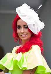 LIVERPOOL, ENGLAND - Friday, April 4, 2014: Michaela Burnett during Ladies' Day on Day Two of the Aintree Grand National Festival at Aintree Racecourse. (Pic by David Rawcliffe/Propaganda)
