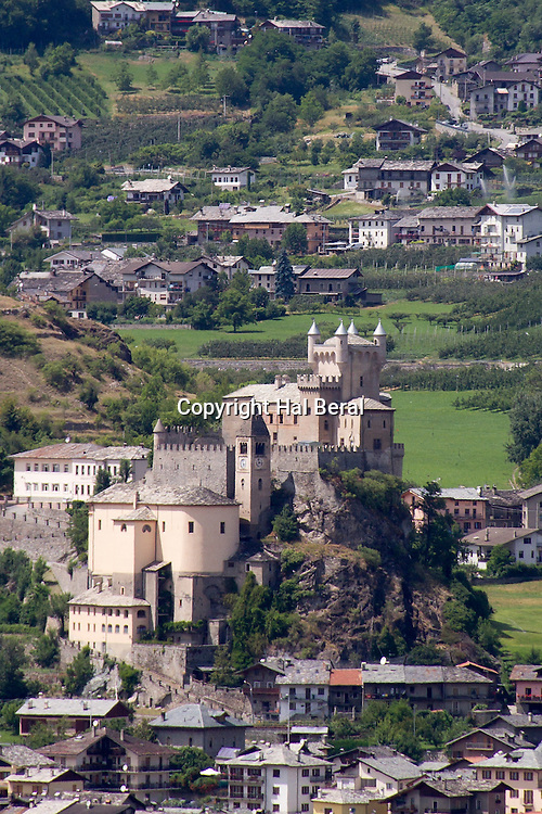 Castle of Sarriod de la Tour from the 14th century and the Church of Sant Pietro<br /> Saint-Pierre, Italy