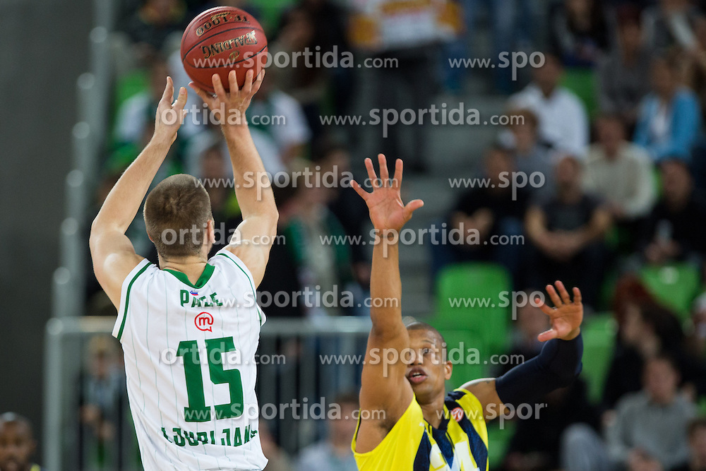 Dylan George Page of Union Olimpija during basketball match between KK Union Olimpija and Fenerbahce Ulker Istanbul (TUR)  in 2nd Round of Regular season of Euroleague 2012/13 on October 19, 2012 in Arena Stozice, Ljubljana, Slovenia. (Photo By Vid Ponikvar / Sportida)
