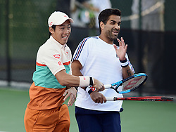 March 8, 2019 - Indian Wells, CA, U.S. - INDIAN WELLS, CA - MARCH 08: Kei Nishikori (JPN) and partner Maximo Gonzalez (ARG) react after Nishikori hit a winner in the first set of a doubles match during the BNP Paribas Open played at the Indian Wells Tennis Garden in Indian Wells, CA. (Photo by John Cordes/Icon Sportswire) (Credit Image: © John Cordes/Icon SMI via ZUMA Press)
