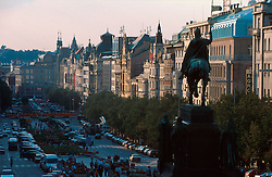 CZECH REPUBLIC PRAGUE AUG97 - General view on Wenceslas Square in the centre of Prague, with the staue of holy Wenceslas in the foreground. . . jre/Photo by Jiri Rezac. . © Jiri Rezac 1997. . Tel:   +44 (0) 7050 110 417. Email: jiri@jirirezac.com. Web:   www.jirirezac.com