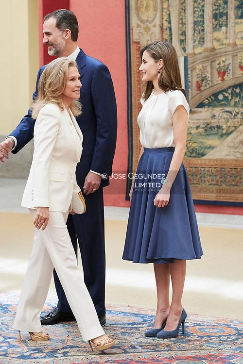 King Felipe VI of Spain, Queen Letizia of Spain, Alicia Koplowitz  attended the annual meeting with members of Princess of Asturias Foundation at El Pardo palace on June 16, 2017 in Madrid, Spain.