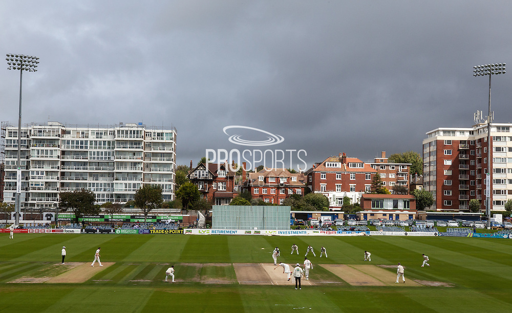 Rain clouds over the ground during the LV County Championship Div 1 match between Sussex County Cricket Club and Somerset County Cricket Club at the BrightonandHoveJobs.com County Ground, Hove, United Kingdom on 14 September 2015. Photo by Bennett Dean.