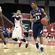 Tracy Abrams #13 of the Illinois Fighting Illini controls the ball during the NIT First Round game at Agganis Arena on March 19, 2014 in Boston, Massachusetts . (Photo by Elan Kawesch)