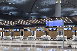 Exclusive - International Terminal of Istanbul's New Airport. The first phase of Istanbul's new airport is due to open in October 2018, and once it is complete, it is expected to become the world's busiest airport. Istanbul New Airport will be constructed over an area of 76.5 million square meters to the north of İstanbul, 35km away from the city centre. The construction will be carried out in four phases, and the first is scheduled to open on 29 October, Turkey's Republic Day. It will comprise of three runways and a terminal with a capacity for 90 million passengers. Once complete, the new airport will have six runways and will host flights going to more than 300 destinations. It will have an annual passenger capacity of up to 200 million people, making it the world's busiest airport. Photo by Tolga Adanali/Depo Photos/ABACAPRESS.COM