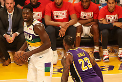 February 27, 2019 - Los Angeles, CA, U.S. - LOS ANGELES, CA - FEBRUARY 27: New Orleans Pelicans Center Julius Randle (30) being guarded by Los Angeles Lakers Forward LeBron James (23) during the first half of the New Orleans Pelicans versus Los Angeles Lakers game on February 27, 2019, at Staples Center in Los Angeles, CA. (Photo by Icon Sportswire) (Credit Image: © Icon Sportswire/Icon SMI via ZUMA Press)