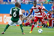 FRISCO, TX - JUNE 26:  Jair Benitez #5 of FC Dallas is defended by Darlington Nagbe #6 of the Portland Timbers on June 26, 2013 at FC Dallas Stadium in Frisco, Texas.  (Photo by Cooper Neill/Getty Images) *** Local Caption *** Jair Benitez; Darlington Nagbe