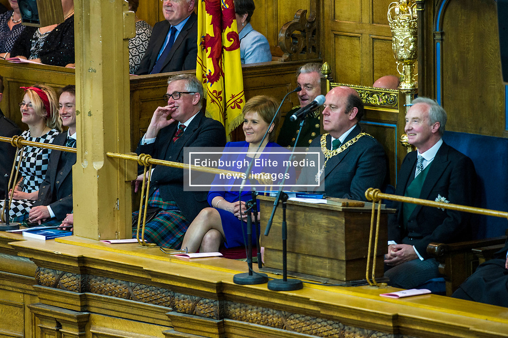 Pictured: Nicola Sturgeon and Frank Ross, Edinburgh's Right Honourable Lord Lieutenant and Lord Provost and he Lord Commissioner His Grace Richard Walter John Montague Stewart Scott, Duke of Buccleugh and Queensberry, KBE, DL, FSA, FRSE<br /> <br /> The 2018 General Assembly of the Church of Scotland begins.This year's annual gathering runs until Friday May 25<br /> <br /> Ger Harley   EEm 19 May 2018