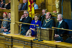 Pictured: Nicola Sturgeon and Frank Ross, Edinburgh's Right Honourable Lord Lieutenant and Lord Provost and he Lord Commissioner His Grace Richard Walter John Montague Stewart Scott, Duke of Buccleugh and Queensberry, KBE, DL, FSA, FRSE<br /> <br /> The 2018 General Assembly of the Church of Scotland begins.This year's annual gathering runs until Friday May 25<br /> <br /> Ger Harley | EEm 19 May 2018