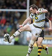 Wycombe, GREAT BRITAIN,  Saints', Jon CLARKE kicking the ball forward during the Guinness Premiership rugby game, London Wasps vs Northampton Saints, at Adam's Park Stadium, Bucks, England, on Sun 22.02.2009. [Photo, Peter Spurrier/Intersport-images]