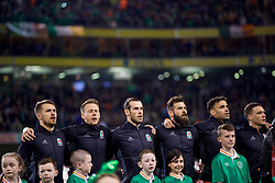 DUBLIN, REPUBLIC OF IRELAND - Friday, March 24, 2017: Aaron Ramsey, Chris Gunter, Gareth Bale, Joe Ledley, Hal Robson-Kanu and James Chester before the 2018 FIFA World Cup Qualifying Group D match against Republic of Ireland at the Aviva Stadium. (Pic by David Rawcliffe/Propaganda)