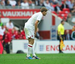 LONDON, ENGLAND - Saturday, June 2, 2012: England's captain Steven Gerrard runs off an injury against Belgium during the International Friendly match at Wembley. (Pic by David Rawcliffe/Propaganda)