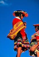 Indian girls in native costume, Plaza de Armas, Cuzco, Peru