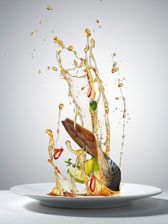 Series of images created for Weight Loss feature in Men's Heath magazine depicting selected healthy recipes with dynamic approach to food photography. The shots portray how the food would look in space in the state of weightlessness. Defying gravity, everything from the food to the condiments is floating in midair.