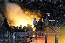05.02.2011, Bruchwegstadion, Mainz, GER, 1. FBL, FSV Mainz 05 vs Werder Bremen, im Bild Pyrotechnik im Werder-Block, EXPA Pictures © 2011, PhotoCredit: EXPA/ nph/  Roth       ****** out of GER / SWE / CRO  / BEL ******